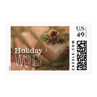 Christmas Gift With Pines Cones Postage Stamp
