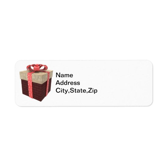 Christmas Gift with Red Ribbon Return Address Label
