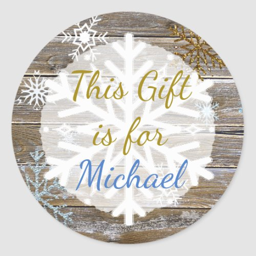 Christmas Gift  Wood Gold Snowflakes Gift Tag