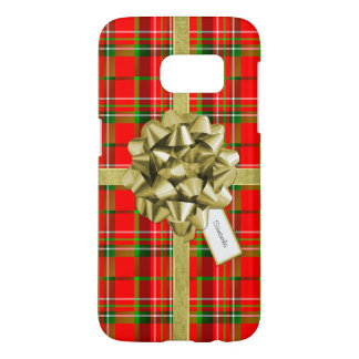 Christmas Gift Wrapped in Red Tartan and Ribbons Samsung Galaxy S7 Case