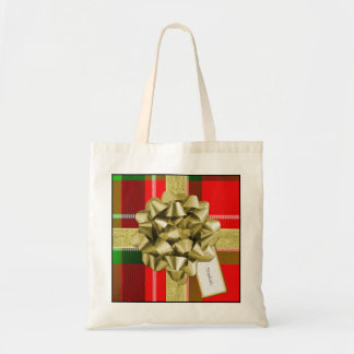 Christmas Gift Wrapped in Red Tartan and Ribbons Tote Bag