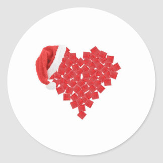 Christmas giftboxes in a heart classic round sticker