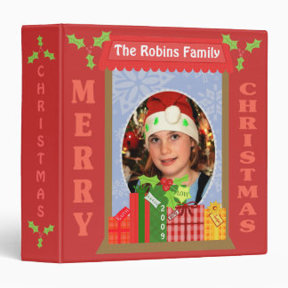 Christmas Gifts & Holly Photo Scrapbook Binder