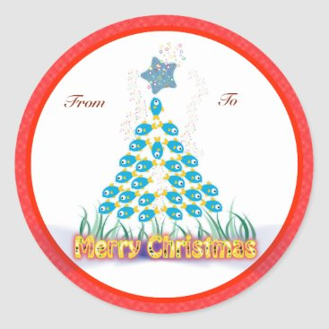 Christmas Themed Christmas Gifts Tags: Fish Christmas Tree Classic Round Sticker