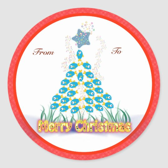 Christmas Gifts Tags: Fish Christmas Tree Classic Round Sticker
