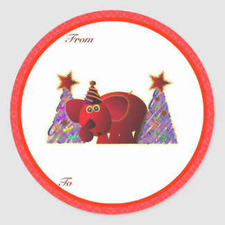 Christmas Gifts Tags: Red Elephant Round Sticker