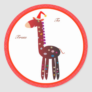 Christmas Gifts Tags: Red Giraffe Stickers