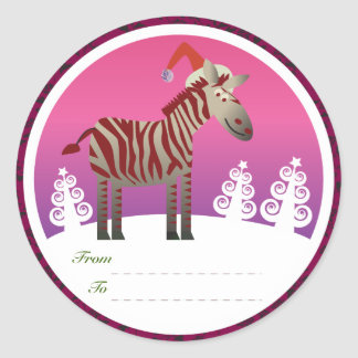 Christmas Gifts Tags: Zebra Round Sticker