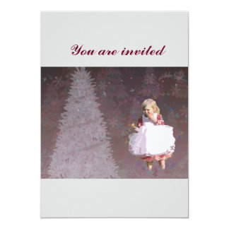 christmas Gifts with Christmas Tree & Little Girl 5x7 Paper Invitation Card