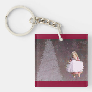 christmas Gifts with Christmas Tree & Little Girl Acrylic Keychain