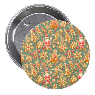 Christmas Gingebread Cookies Pattern Pinback Button