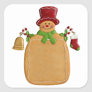 Christmas Ginger Bread Man Square Sticker