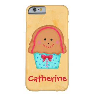 Christmas Gingerbrea Cupcake Art Name Personalized Barely There iPhone 6 Case