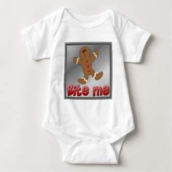 Christmas Gingerbread Bite Me Cookie Aparrell Baby Bodysuit by creativeconceptss at Zazzle