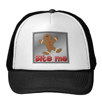 Christmas Gingerbread Bite Me Cookie Aparrell Trucker Hat by creativeconceptss at Zazzle