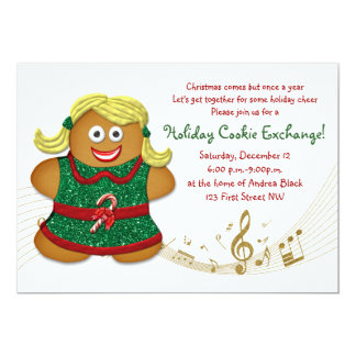 Christmas Gingerbread Cookie Exchange  Invitation
