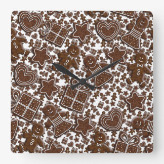 christmas gingerbread cookies square wall clock