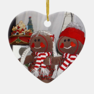 Christmas Gingerbread Couple Ceramic Ornament