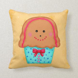 Christmas Gingerbread Cupcake Art Gold Throw Pillow