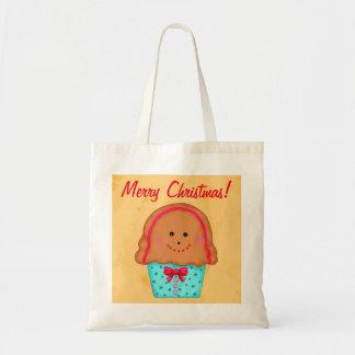 Christmas Gingerbread Cupcake Art Gold Shopping Tote Bag