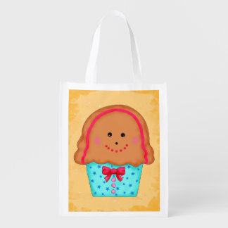 Christmas Gingerbread Cupcake Art Whimsy Gift Grocery Bags