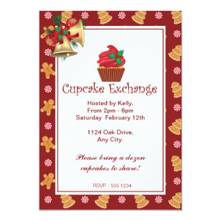 "Christmas Gingerbread Cupcake Exchange Invitation 5"" X 7"" Invitation Card"