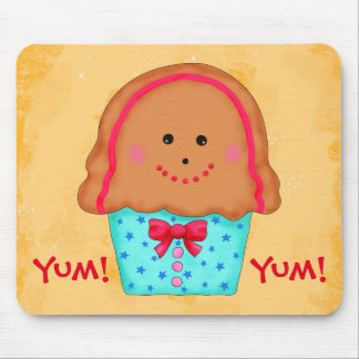 Christmas Gingerbread Cupcake Name Personalized Mouse Pad