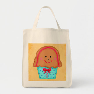 Christmas Gingerbread Cupcake Original Art Gold Canvas Bag