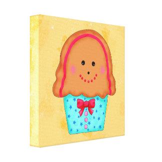 Christmas Gingerbread Cupcake Whimsy Art Canvas Print