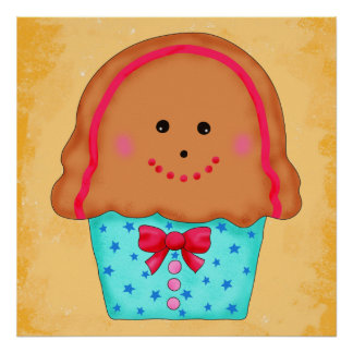 Christmas Gingerbread Cupcake Whimsy Art Posters