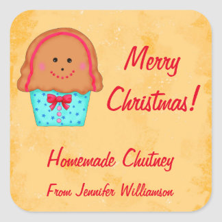 Christmas Gingerbread Custom Food Jar Label