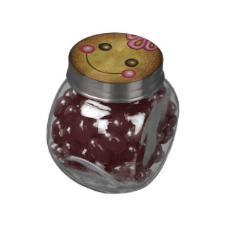 Christmas Gingerbread Face Jelly Bean Jar. Glass Jar