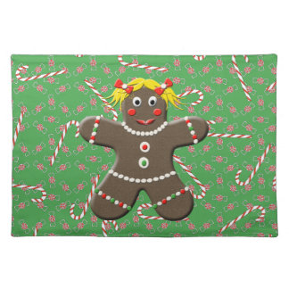 Christmas Gingerbread Girl Green Holiday Placemat
