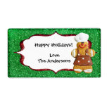 Christmas Gingerbread Glitter label - green Shipping Label