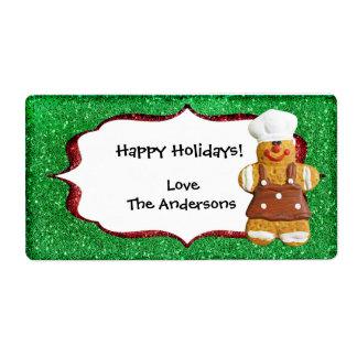 Christmas Gingerbread Glitter label - green