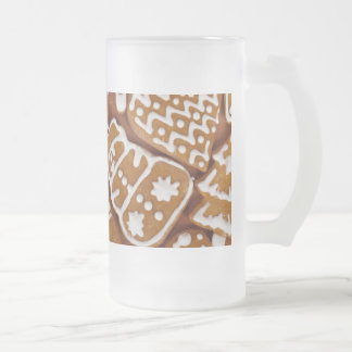 Christmas Gingerbread Holiday Cookies Frosted Glass Beer Mug
