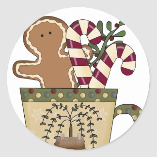 Christmas Gingerbread Holiday Greetings Classic Round Sticker