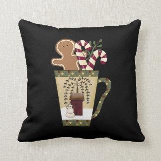 Christmas Gingerbread Holiday Greetings Throw Pillow