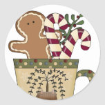 Christmas Gingerbread Holiday Greetings Round Sticker