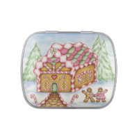 Christmas Gingerbread House Candy Tin Gift