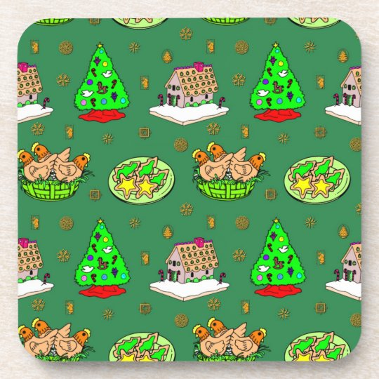 Christmas – Gingerbread Houses & Frosted Cookies Beverage Coaster
