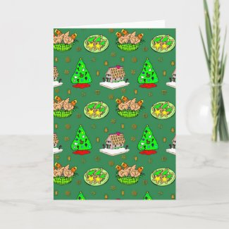 Christmas – Gingerbread Houses & Frosted Cookies Greeting Cards