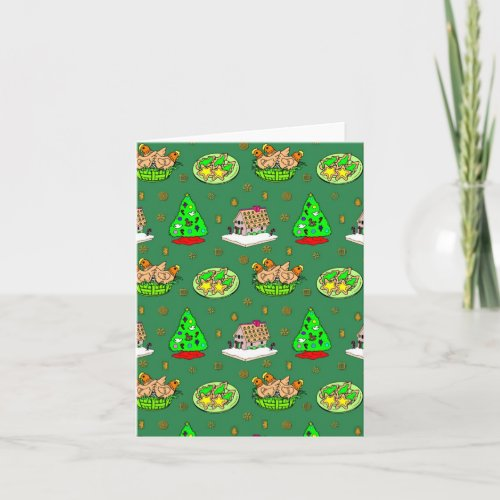 Christmas – Gingerbread Houses & Frosted Cookies Holiday Card