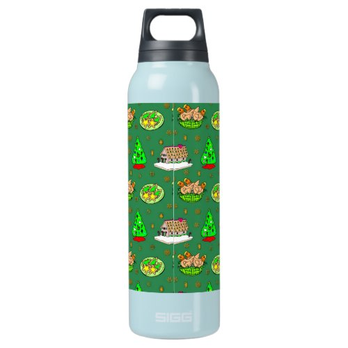 Christmas – Gingerbread Houses &amp&#x3B; Frosted Cookies Insulated Water Bottle