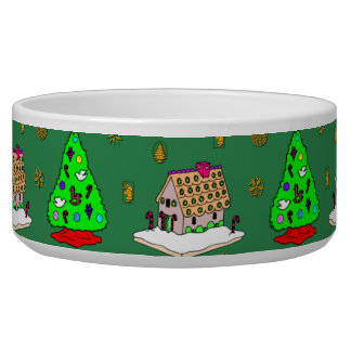 Christmas – Gingerbread Houses & Frosted Cookies Dog Water Bowl