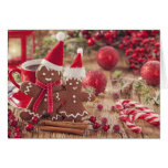 Christmas Gingerbread Man And Hot Drink Greeting Card