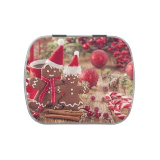 Christmas Gingerbread Man And Hot Drink Jelly Belly Candy Tin