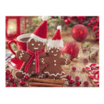 Christmas Gingerbread Man And Hot Drink Postcard