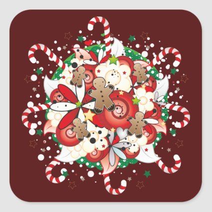 Christmas Gingerbread Man Bouquet Square Stickers