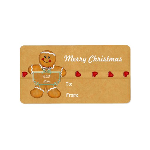 ... Gingerbread Man Gift Tags Personalized Address Label | Zazzle